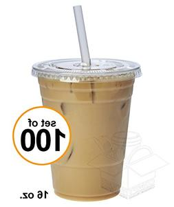100 Sets 16 oz. Plastic CRYSTAL CLEAR Cups with Flat Lids  f