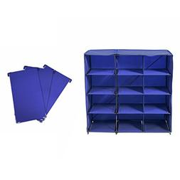 Origami 12 Cube Foldable Shoe Rack with 3 Piece Divider, Blu