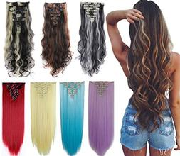 8Pcs 18 Clips 17-26 Inch Curly Straight Full Head Clip in on