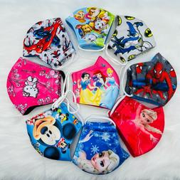 2/3 PACK Kids Face Mask HERO/PRINCESS Polyester 3-Fly Washab
