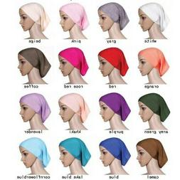 20 Colors Women Cotton Under Scarf Tube Bonnet Cap Hijab Bon