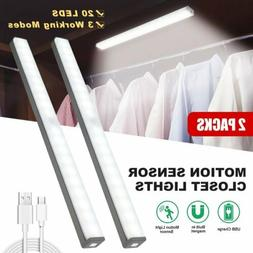 20 LED Under Closet Light PIR Motion Sensor USB Rechargeable