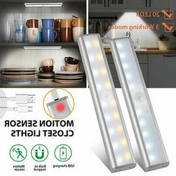 20 LED Wireless Under Cabinet Rechargeable Light USB Motion