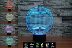 3D Baseball Illusion Lamp, LED Night Light with USB Power Co
