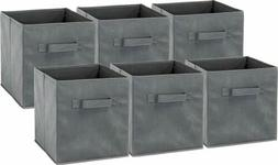6 Pack - SimpleHouseware Foldable Cube Storage Bin, Dark Gre