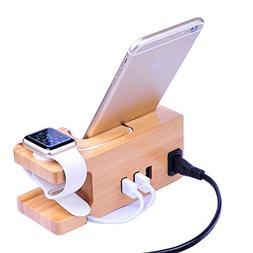 AICase Bamboo Wood USB Charging Station, Desk Stand Charger,