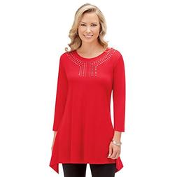 Collections Etc Women's Embellished Knit Tunic w/Sharkbite H