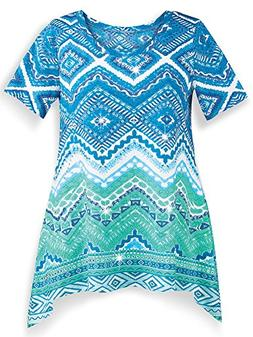Collections Etc Women's Southwestern Aztec Sharkbite Tunic T