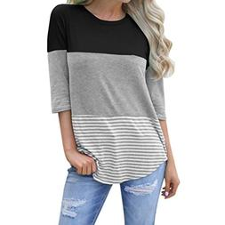 DIANA'S Tops Women Casual Loose Striped Patchwork Lace Three