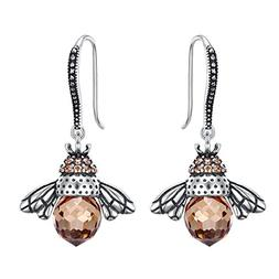 EleQueen 925 Sterling Silver Vintage Inspired Brown Crystals