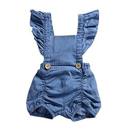 Hatoys Infant/Toddler Baby Girl One Piece Denim Ruffles Romp