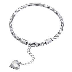 N'joy Stainless Steel Snake Chain with Screw End, European S