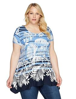 Ruby Rd.. Women's Plus Size Floral Short Sleeve Knit Top wit