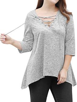 uxcell Women's Plus Size Lace up 3/4 Sleeves Handkerchief He