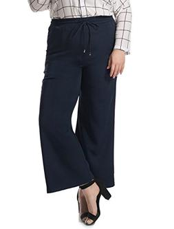 Agnes Orinda Women's Plus Size Drawstring Flared Pants Blue