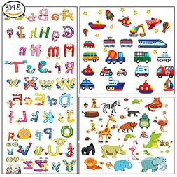 3pcs Animal Alphabet ABC Truck Wall Decals Stickers for Kids