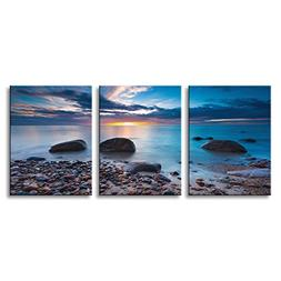Blue Seascape Canvas Wall Art Sunrise 3 Panels Landscape Pai