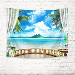 HVEST Blue Seawater Rush to Beach Tapestry,White Cloud in Sk