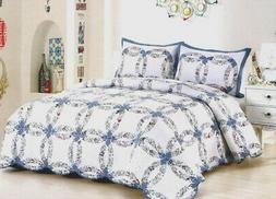 BLUE WEDDING RING Full Queen QUILT SET : COTTAGE ROMANTIC CO