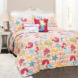4 Piece Bright Mermaid Waves Patterned Reversible Quilt Set