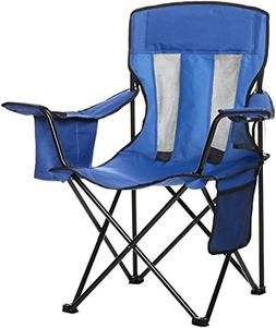 AmazonBasics Camping Chair with Cooler, Blue Mesh