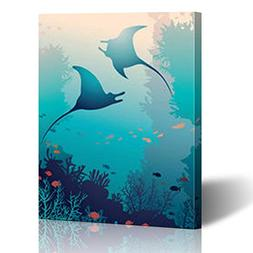 Canvas Print Wall Art Silhouette Two Mantas Coral Reef Fish