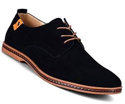 Men Shoes Casual Suede Leather Shoes Mens Loafers Black Oxfo