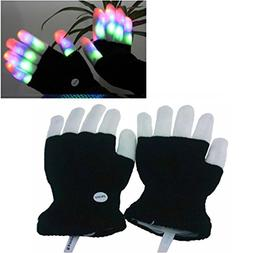 Luwint LED Colorful Flashing Finger Lighting Gloves with Ext