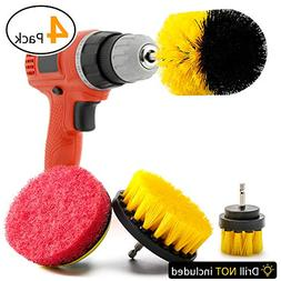 4 Piece Drill Brush Attachment, ROTEK Drill Cleaning Brush S