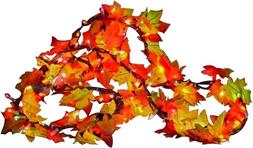 fall color lighted leaf garland clear 9
