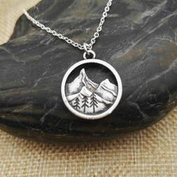 Find Your Road Pine Tree charm Under mountain Camping Jewelr