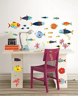 Fish Tales Wall Art Decal Kit Wall Decal 35 x 20in
