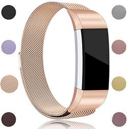 Maledan Compatible with Fitbit Charge 2 Bands, Stainless Ste