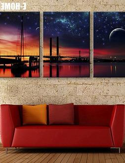 Generic- Stretched LED Canvas Print Art Under The Starry Sky