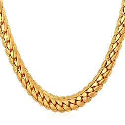 U7 18K Gold Plated Men Jewelry 6MM Unique Snake Chain Neckla