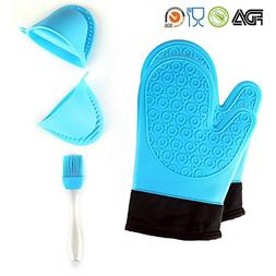 TOPBRY Heat Resistant Silicone Oven Gloves Non-Slip for Kitc