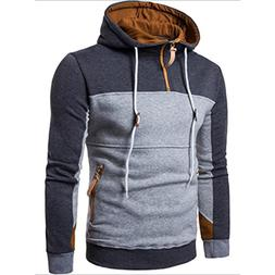 Leyorie Boy Fashion Hoodie Patchwork Long Sleeve Men Pullove