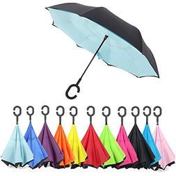 Aweoods Inverted Umbrella Windproof Reversible Umbrella