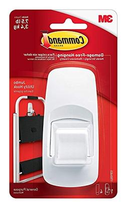 Command Jumbo Plastic Hook with Adhesive Strips, 2-Hook