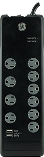 GE UltraPro Surge Protector, 10 Outlet Power Strip, 2 USB Ch