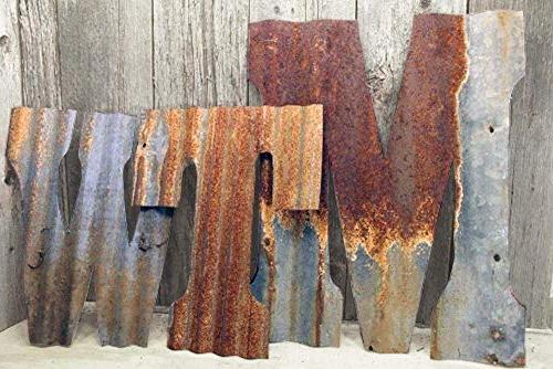 """Rusty Tin Letters Rustic Metal Wall Decor 8"""" - 36"""" Reclaimed"""