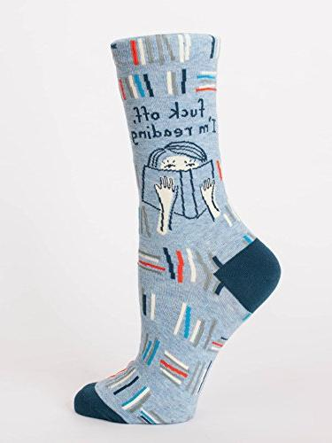 Blue Q Women's Crew Funny Novelty Socks, F*** Off, I'm Readi