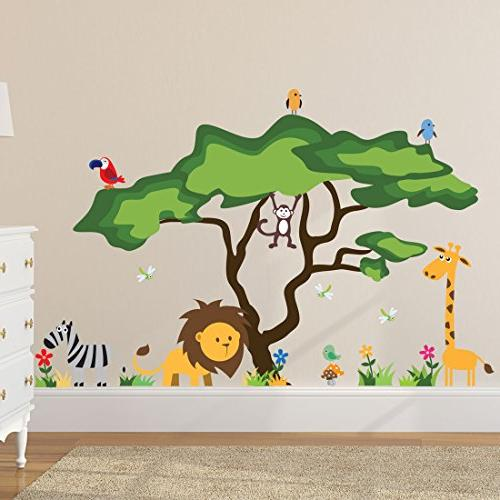 cute animals jungle wall decals