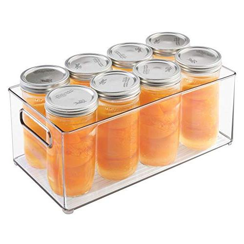 mDesign Kitchen Container Bin with Handles Pantry, Freezer BPA Free - Long Clear