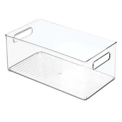 """mDesign Stackable Kitchen Storage Organizer Bin with Handles Pantry, Cabinets, Freezer BPA Free - 14.5"""" Long Clear"""