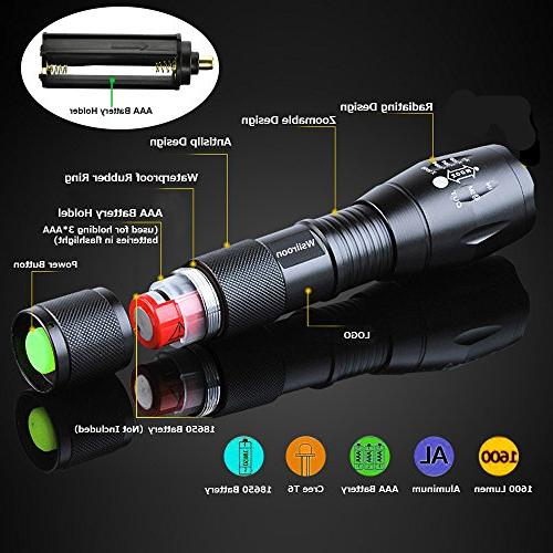 LED Flashlight 1600 Lumen XML-T6 Brightness with 5 Modes Indoor and Outdoor Use, 2