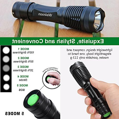 Ultra-Bright LED Flashlight, CREE XML-T6 Zoomable, 5 Light Indoor and 2