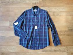 Calvin Klein large blue plaid button down shirt NEW WITH TAG