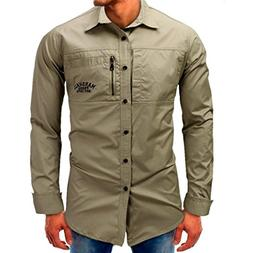 Men Long-Sleeve Beefy Button Basic Solid Blouse Tee Shirt To