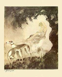 Louis Icart Greyhounds Dogs Lady Under Tree Deco Art 16X20 P